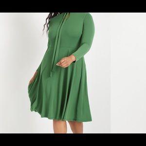 Eloquii Green Tie neck midi Dress